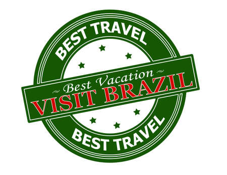 holidays vacancy: Rubber stamp with text visit Brazil inside, vector illustration Illustration
