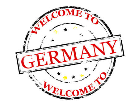incur: Rubber stamp with text welcome to Germany inside, vector illustration Illustration