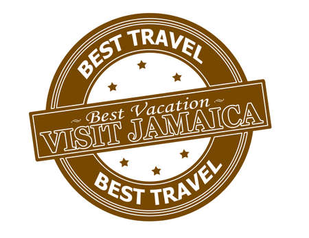holidays vacancy: Rubber stamp with text visit Jamaica inside, vector illustration