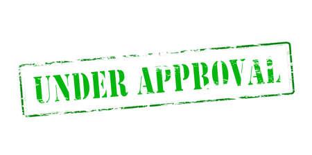 approbation: Timbro di gomma con il testo in corso di approvazione dentro, illustrazione vettoriale