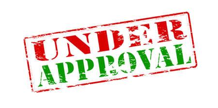 approbation: Timbro di gomma con il testo in corso di approvazione all'interno