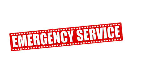 contingency: Rubber stamp with text emergency service inside Illustration