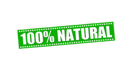 one of a kind: Rubber stamp with text one hundred percent natural inside Illustration