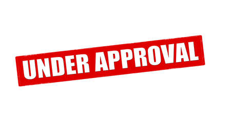 approbation: Rubber stamp with text under approval inside