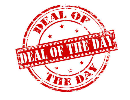 undertaking: Rubber stamp with text deal of the day inside