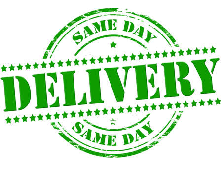 the same: Rubber stamp with text same day delivery inside Illustration