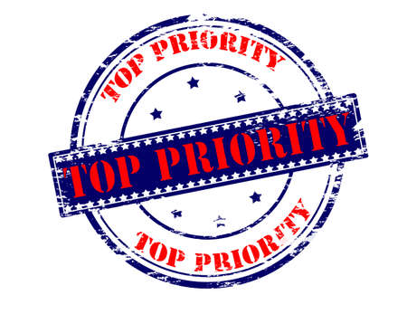 precedence: Rubber stamp with text top priority inside Illustration