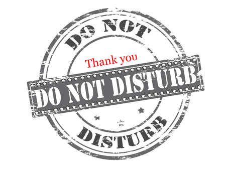 fret: Rubber stamp with text do not disturb inside Illustration