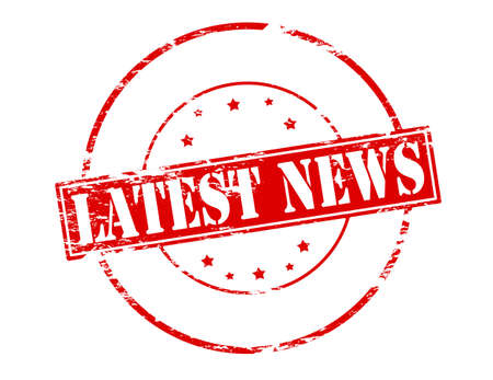 Rubber stamp with text latest news inside