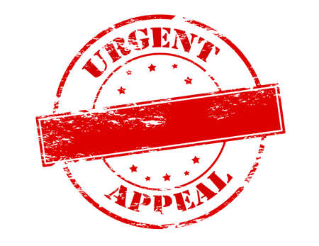 appeal: Rubber stamp with text urgent appeal inside