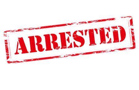 arrested: Rubber stamp with word arrested inside