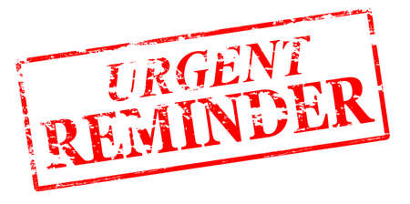 urgent: Rubber stamp with text urgent reminder inside