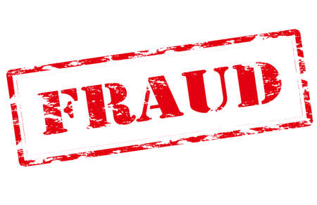 Rubber stamp with word fraud inside 矢量图像