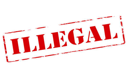 unauthorized: Rubber stamp with word illegal inside, vector illustration