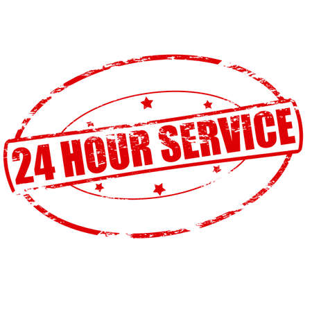 twenty four hours: Rubber stamp with text twenty four hour service inside, vector illustration Illustration