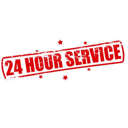 twenty four hour: Rubber stamp with text twenty four hour service inside, vector illustration Illustration