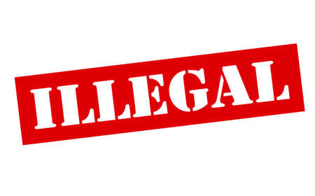 illegal: Rubber stamp with word illegal inside, vector illustration