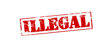 lawless: Rubber stamp with word illegal inside, vector illustration