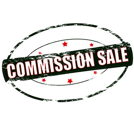 zdradę: Rubber stamp with text commission sale inside, vector illustration