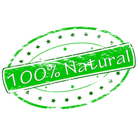 one of a kind: Rubber stamp with text one hundred percent natural inside, vector illustration