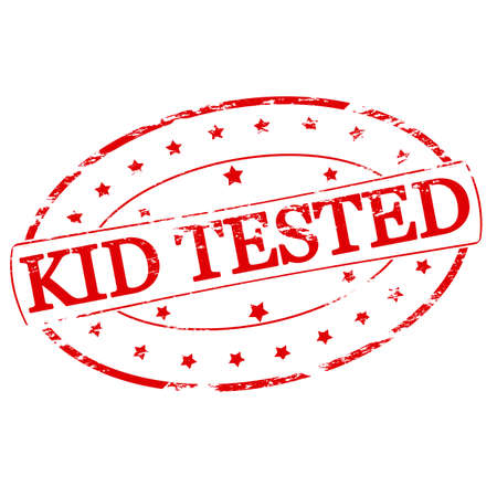 Rubber stamp with text kid tested inside, vector illustration