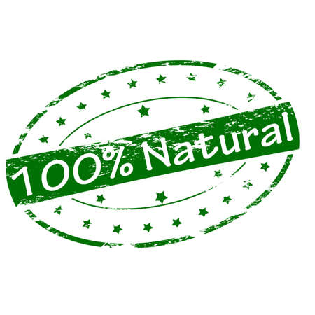 hundred: Rubber stamp with text one hundred percent natural inside, vector illustration
