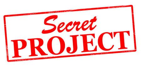 Rubber zegel met tekst geheim project binnen, vector illustratie
