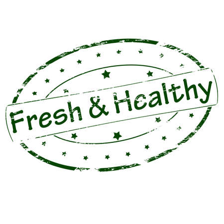 dewy: Rubber stamp with text fresh and healthy inside, vector illustration