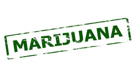 marihuana: Rubber stamp with word marijuana inside, vector illustration