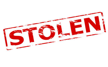 Rubber stamp with word stolen inside, vector illustration