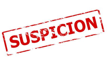 suspicion: Rubber stamp with word suspicion inside, vector illustration