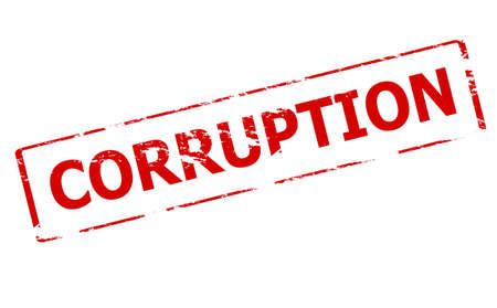 corrupted: Rubber stamp with word corruption inside, vector illustration Illustration