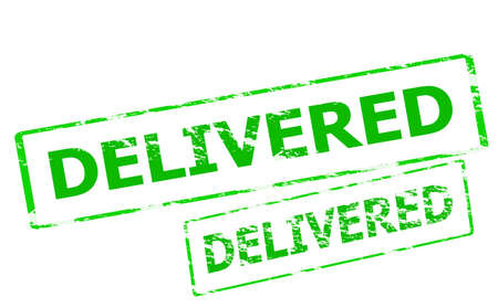 delivered: Rubber stamp with word delivered inside, vector illustration