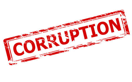 Rubber stamp with word corruption inside, vector illustration Illustration