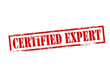 adept: Rubber stamp with text certified expert inside, vector illustration Illustration