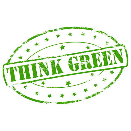 reckon: Rubber stamp with text think green inside, vector illustration Illustration