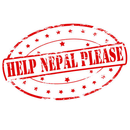 gratify: Rubber stamp with text help Nepal please inside, vector illustration