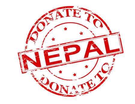 grant: Rubber stamp with text donate to Nepal inside, vector illustration