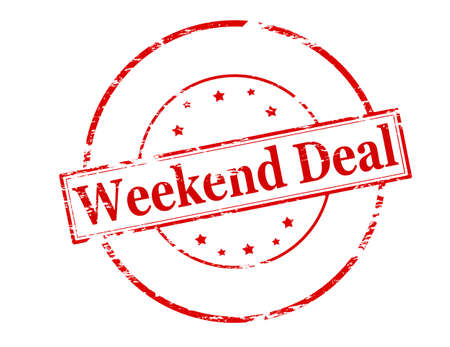 undertaking: Rubber stamp with text weekend deal inside, vector illustration