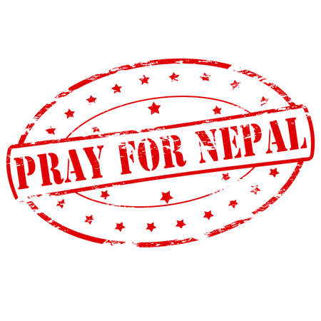 beg: Rubber stamp with text pray for Nepal inside, vector illustration Illustration