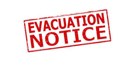 evacuacion: Sello de goma con aviso de evacuación texto dentro, ilustración vectorial