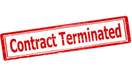 terminated: Rubber stamp with text contract terminated inside