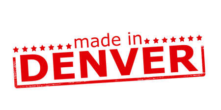 Rubber stamp with text made in Denver inside, vector illustration Vector