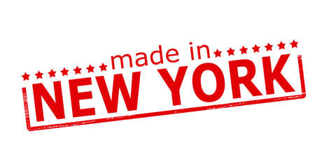 Rubber stamp with text made in New York inside, vector illustration Vector