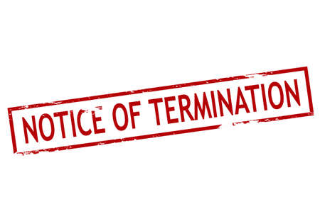 termination: Rubber stamp with text notice of termination inside, vector illustration Illustration