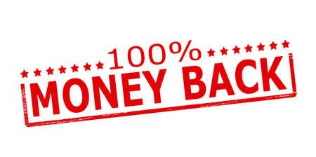 backwards: Rubber stamp with text one hundred percent money back inside, vector illustration