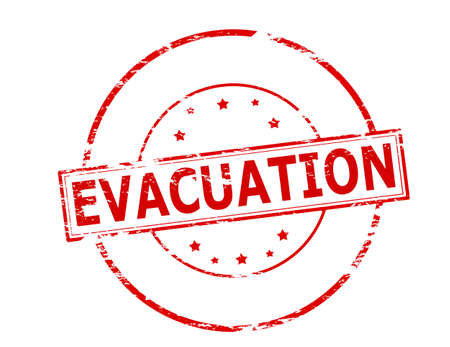 Rubber stamp with word evacuation inside, vector illustration