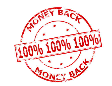 Rubber stamp with text one hundred percent money back inside, vector illustration