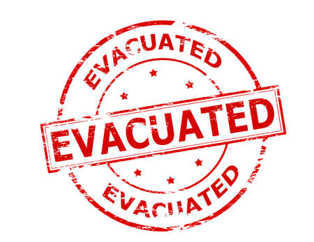 evacuate: Rubber stamp with word evacuated inside, vector illustration