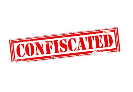 confiscated: Timbro di gomma con la parola confiscato dentro, illustrazione vettoriale